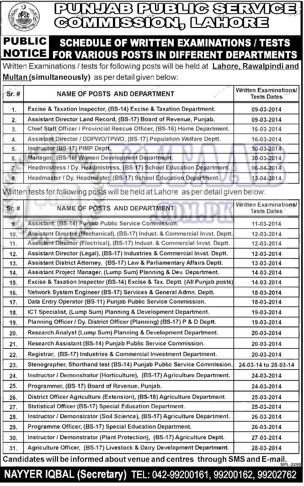 PPSC Exams for Excise and Taxation Inspectors Jobs 2014 Application Form, Result