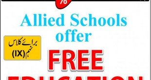 Allied Schools Lahore Offering Scholarship Program 2021 for 9th Class Free Education alliedschool