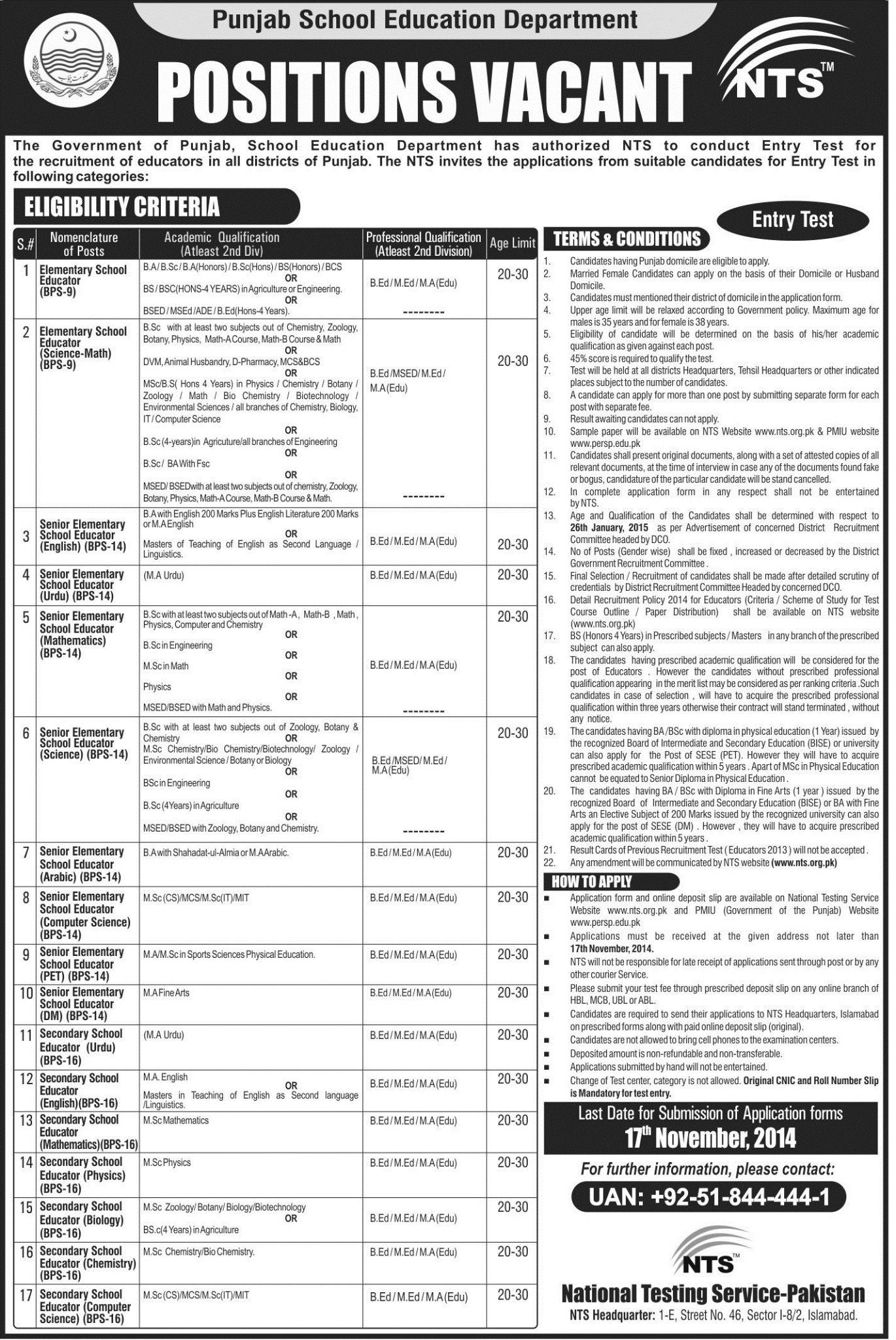 Punjab-Educators-Teachers-Jobs Govt Job Application Form on blank generic, free generic, part time,