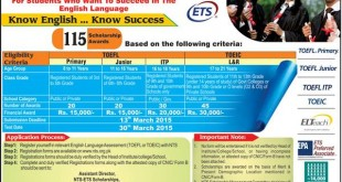 ETS Scholarship Award 2021 NTS Test TOEFL TOEIC Eligibility Application Process Dates and Schedule