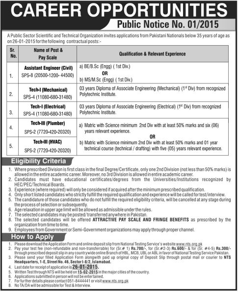 Public Sector Scientific and Technical Organization Jobs 2021 NTS Test Answer Key Result