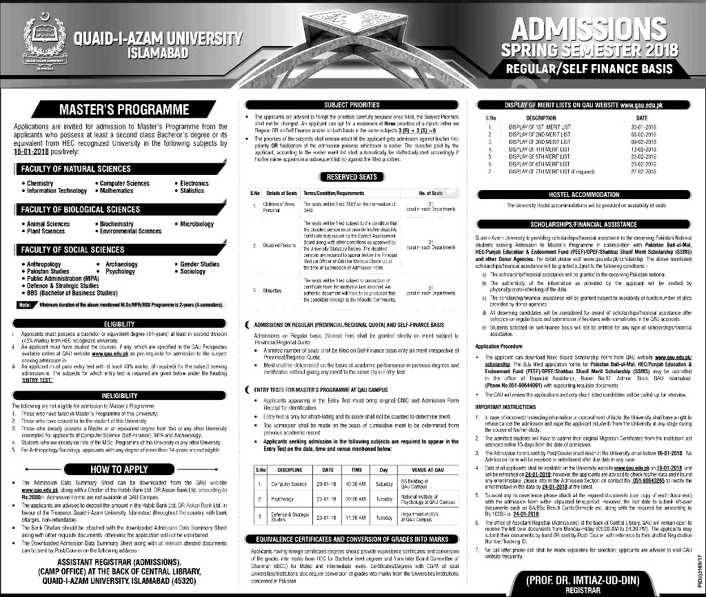 Qau Degree Application Form on dept chmistry, bba department, it department, university logo, islamabad logo, earth science, fee structure for bs, itt dr names, faculty male, dr amena zubari, closing merit, islamabad round area, faculty female,