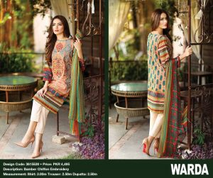 Warda Lawn Pakistani Branded Ladies Dresses Collection Suite Kurti Salwar Kameez New Style Lawn Expensive Dresses Collection 2021