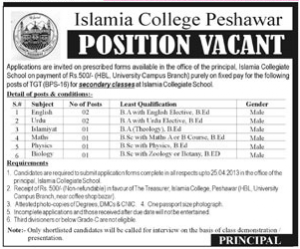 Govt of KPK Islamia College Peshawar Recruitment NTS Test 2021 For Jobs Test Answer Key Result Merit List