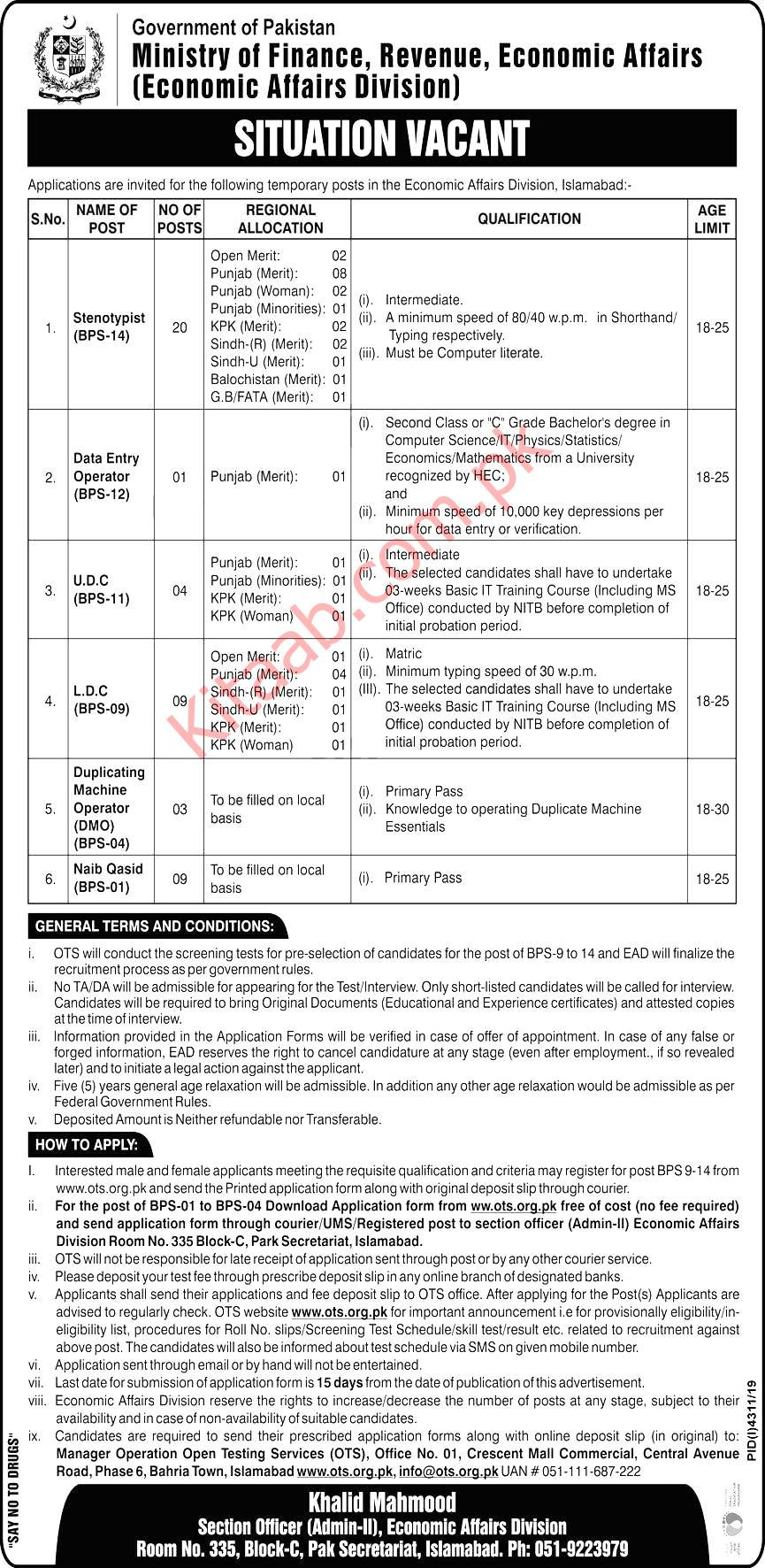 Ministry of Finance, Revenue & Economic Affairs Pakistan Jobs 2021