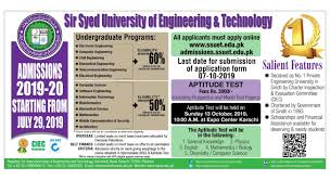 Sir Syed University of Engineering and Technology Admission