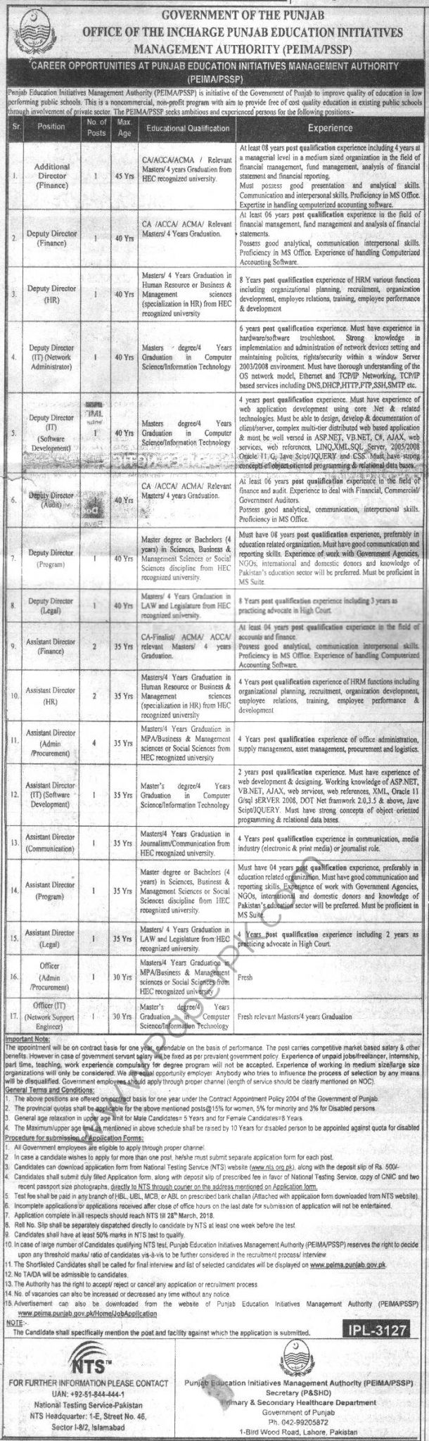 Govt of Punjab PEIMA PSSP Jobs NTS Screening Test 2021 Application