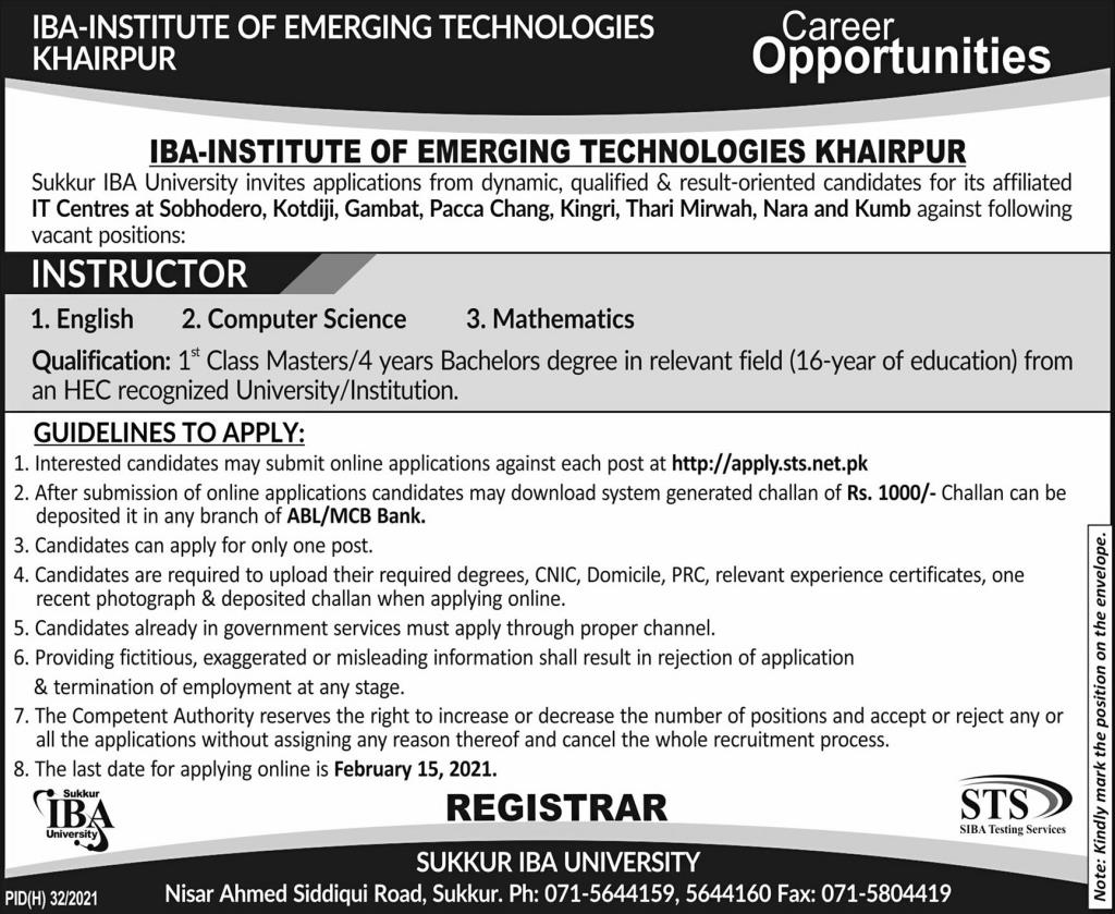 IBA University Jobs 2021 Sukkhar Terms and Conditions Eligibility Criteria