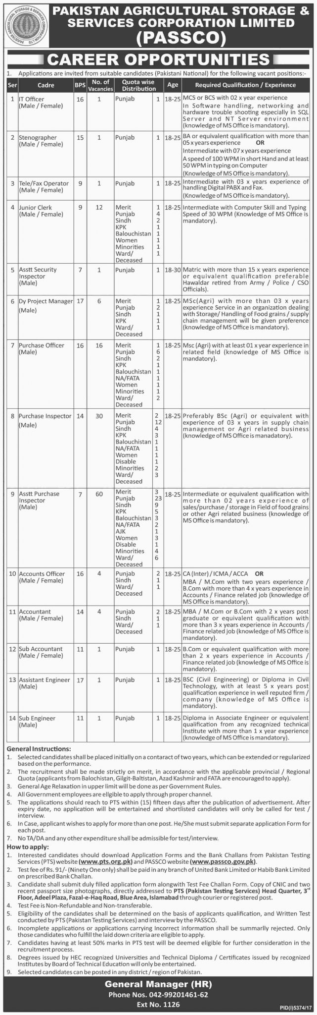 Pakistan Agricultural Storage Services Corporation Ltd Jobs PTS Screening Test 2021 Download Application Form
