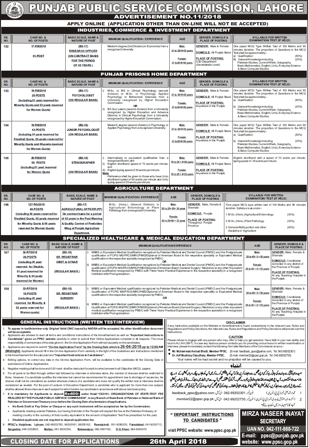 PPSC Punjab Public Service Commission Prisons Home Department Jobs Screening Test 2021 Online Apply
