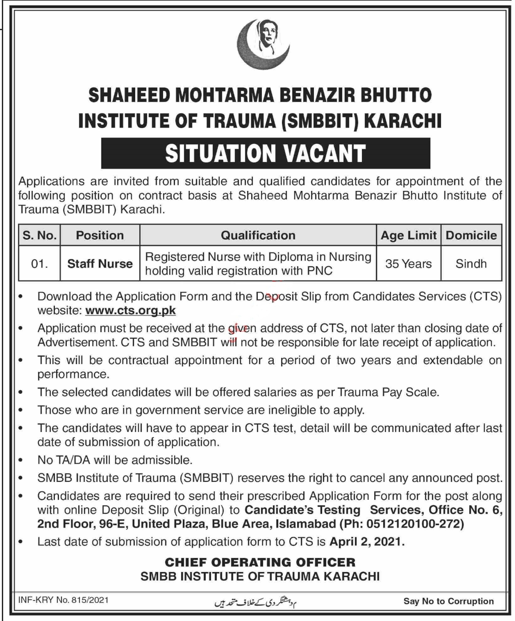 Shaheed Mohtarma Benazir Bhutto SMBB Trauma Center Jobs 2021