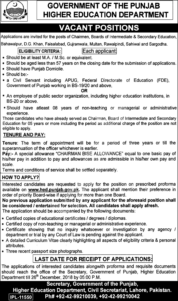 Punjab Higher Education Department Jobs 2019 Eligibility Criteria