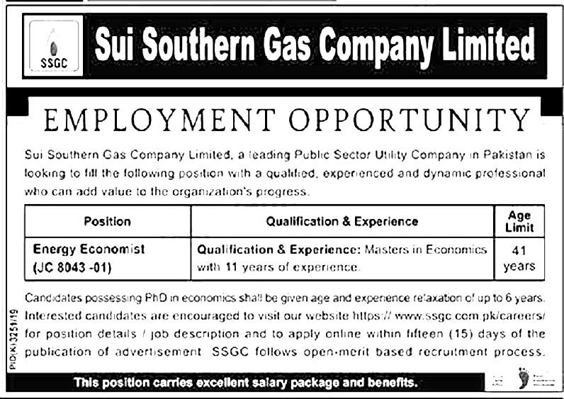 Pakistan Sui Southern Gas Company SSGC Jobs 2021 Online Application