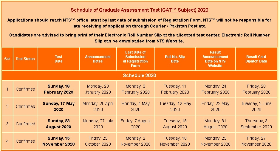 NTS GAT General, Subject Law Test Schedule 2021 Date Roll Number Slips