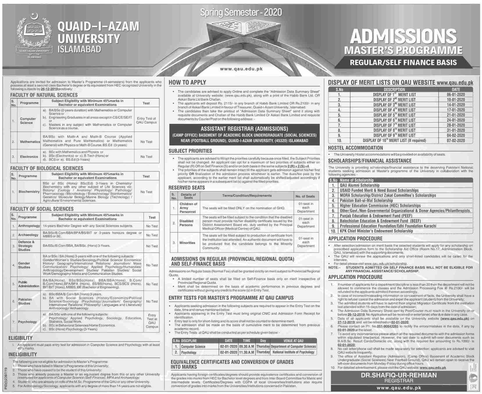 Quaid-I-Azam-University-Islamabad-Admission-2020 Qau Degree Application Form on dept chmistry, bba department, it department, university logo, islamabad logo, earth science, fee structure for bs, itt dr names, faculty male, dr amena zubari, closing merit, islamabad round area, faculty female,