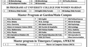 Abdul Wali Khan University Mardan BS And Master Admission Notice 2021 Registration Schedule