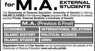 Karachi University Admission 2021 For MA MSc Online Registration Procedure Dates and Schedule