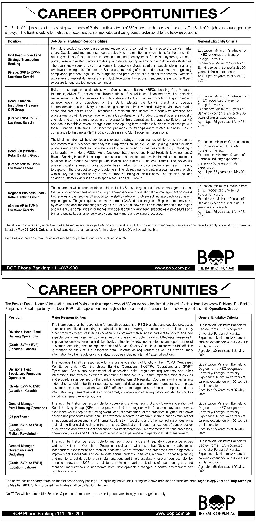 Bank of Punjab Jobs 2021 Written Test Interview Dates and Schedule