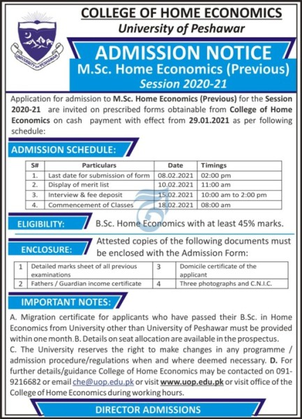 College Of Home Economics University Of Peshawar Admission 2021 Download Application Form