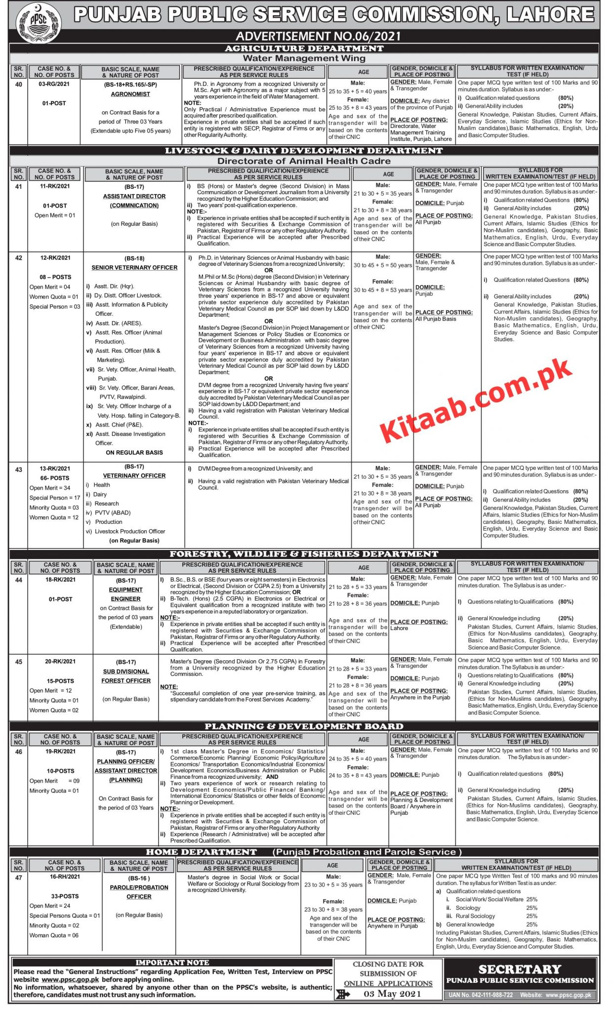 PPSC Agriculture Officer Jobs 2021 Apply Online Eligibility Criteria Instruction and Procedure