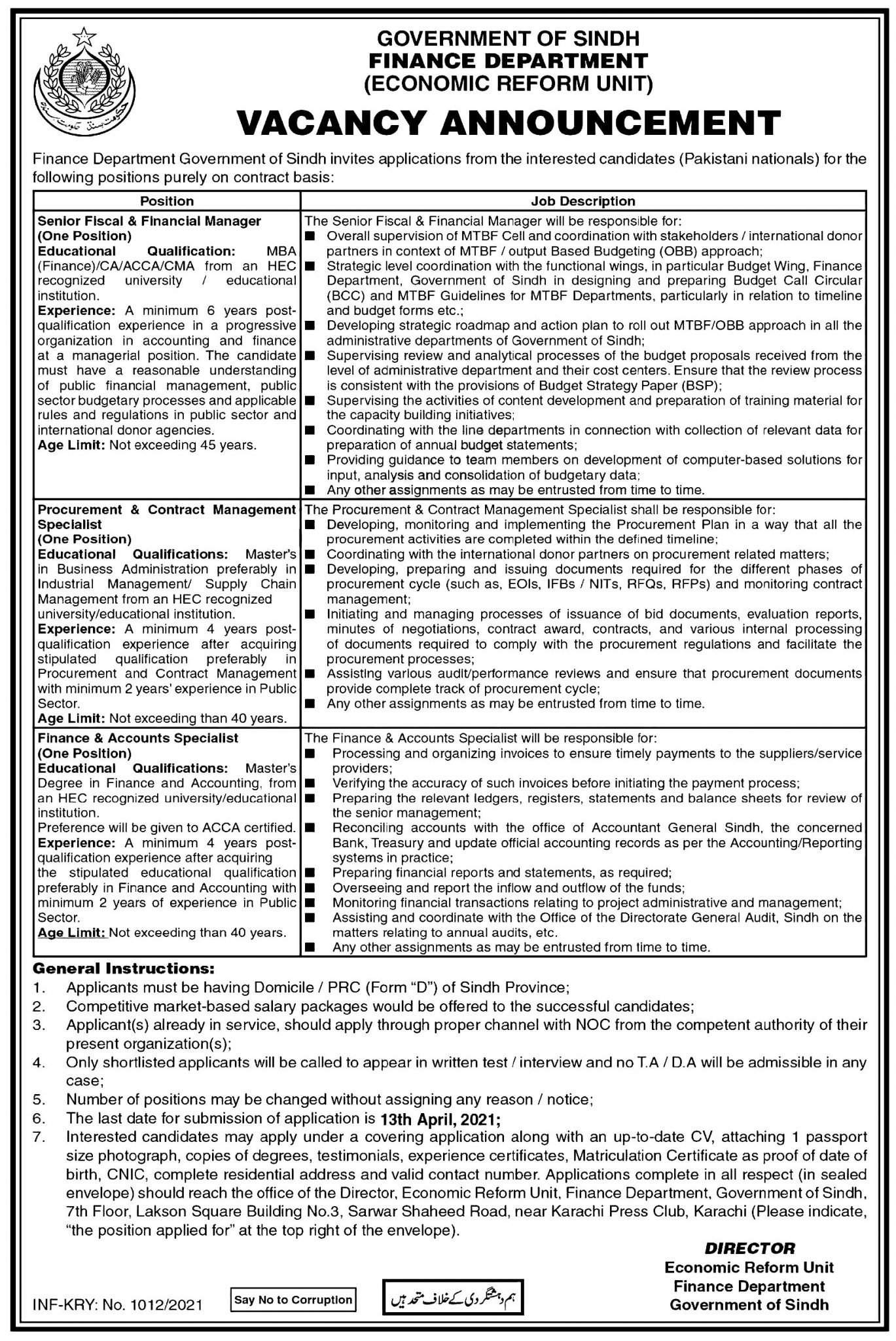 Sindh Finance Department Job 2021 Eligibility, Application Form Last Date