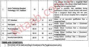 Lahore General Hospital Govt Jobs 2021 Application Form Download Last Date