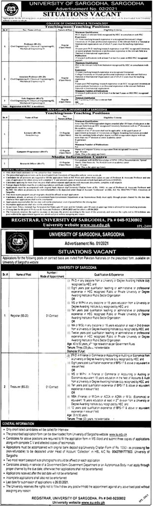 UOS University of Sargodha Teaching Faculty Jobs 2021 Eligibility Criteria Application Form Test Interview Date