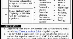 GC University Lahore jobs 2021 Eligibility Criteria Application Form