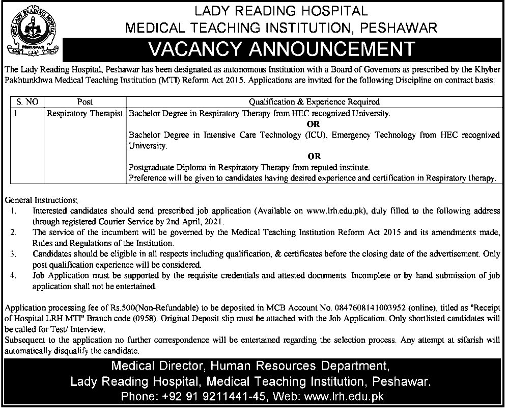 Lady Reading Hospital LRH Jobs 2021 Application Form Eligibility Criteria