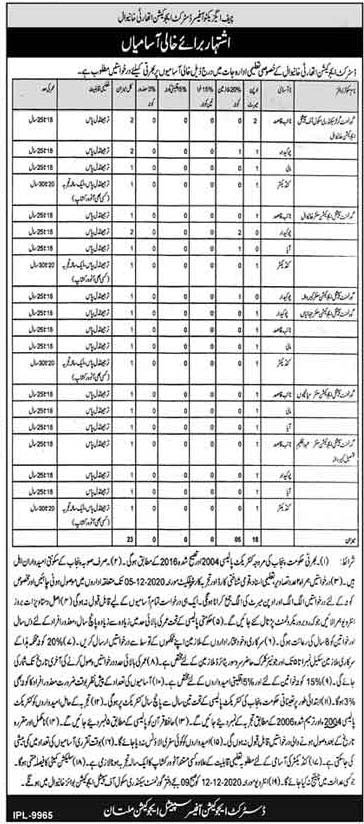 District Education Authority Khanewal Jobs 2021 Application Form Eligibility Criteria
