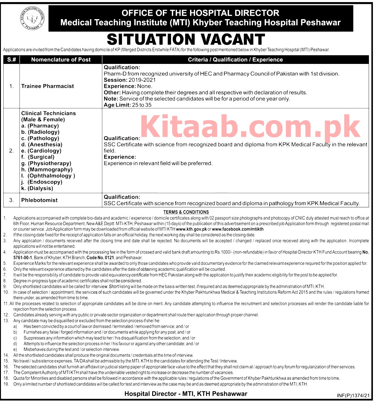 Khyber Teaching Hospital KTH Jobs 2021 Application Form Eligibility Criteria Last Date
