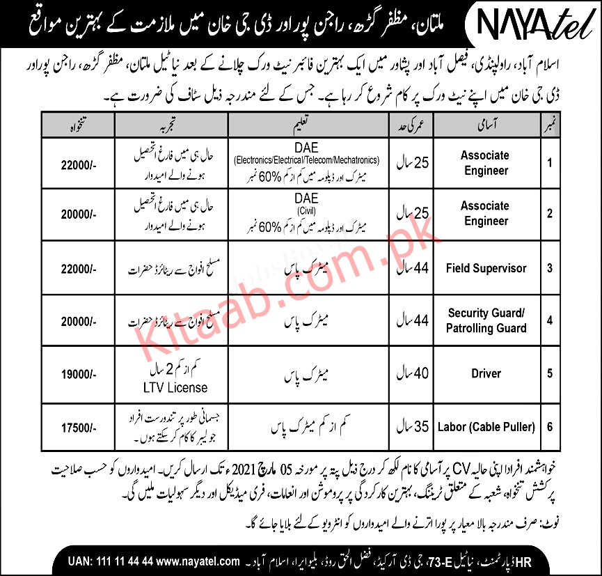 Nayatel Telecom Company Jobs 2021 Application Form Download Dates and Schdule