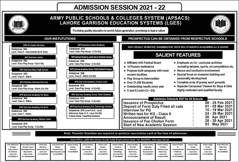 Rawalpindi Army Public School and College Admission 2021 Form Download Eligibility Entry Test Dates