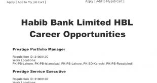 Habib Bank Limited HBL Jobs 2021 Online Apply