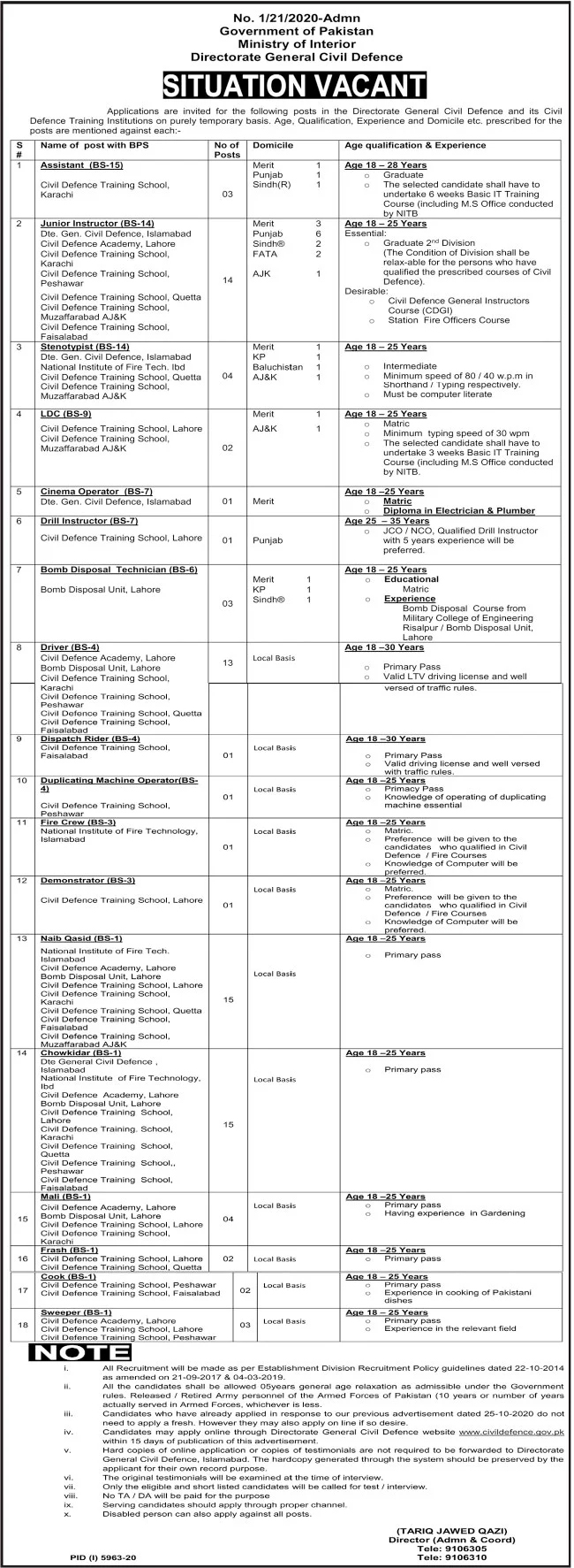 Ministry of Interior Jobs 2021 Application Form Download Eligibility Criteria