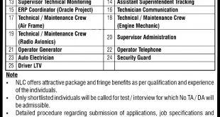 National Logistics Cell NLC Jobs 2021 Online Application Form Dates and Eligibility Criteria