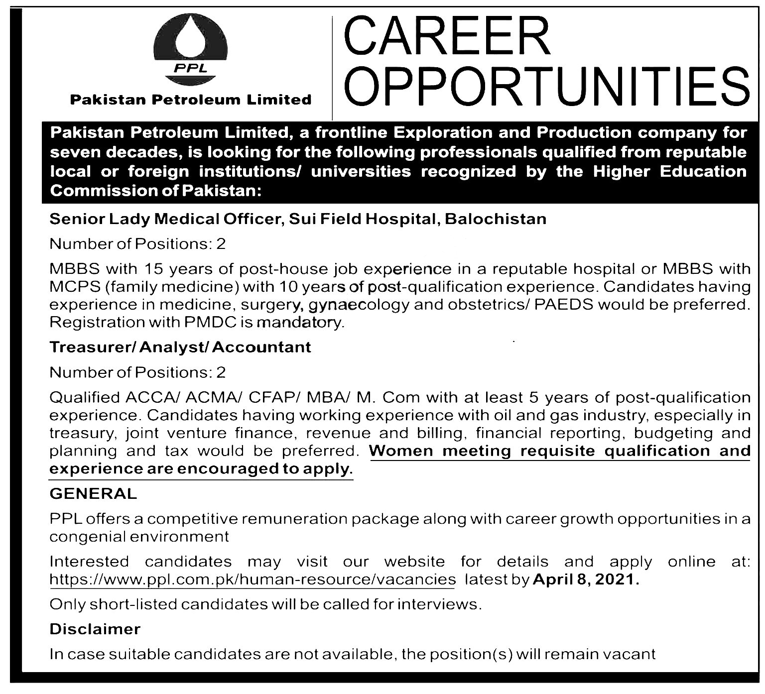 Pakistan Petroleum Limited PPL Jobs 2021 Online Apply Eligibility Criteria Date and Schedule