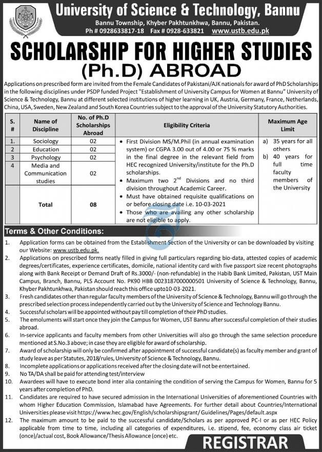 Overseas PhD Scholarships by USTB Bannu 2021 Apply Procedure Eligibility Criteria University of Science and Technology