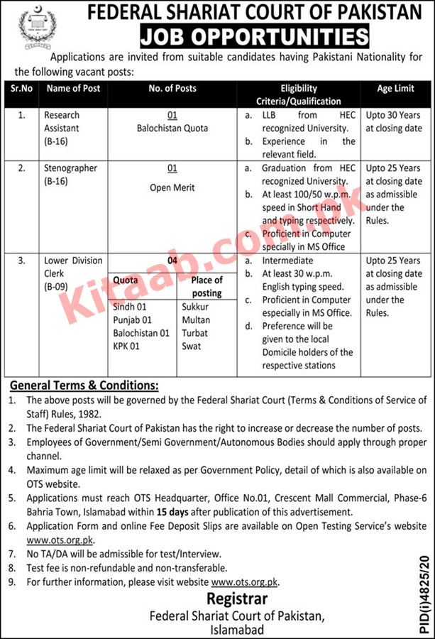 Federal Shariat Court of Pakistan OTS Jobs 2021 Online Registration Form Eligibility Criteria